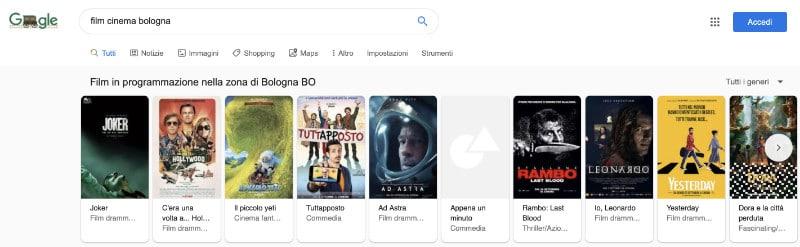 Google My Business Scheda Programmazione cinema Bologna