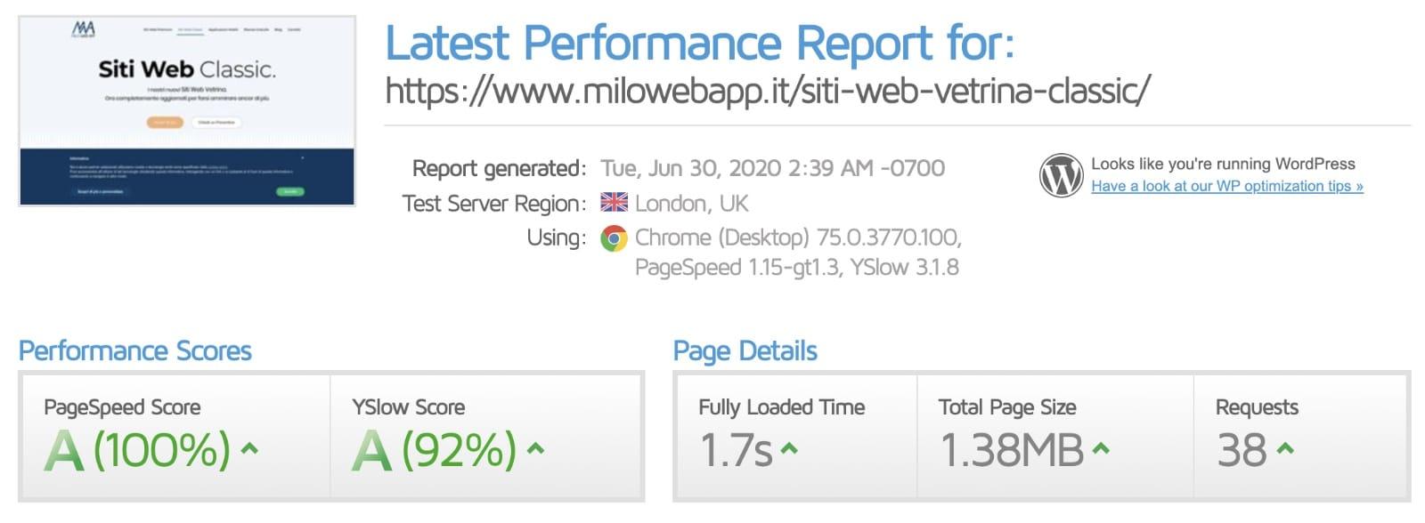 Velocità del sito web - Dopo