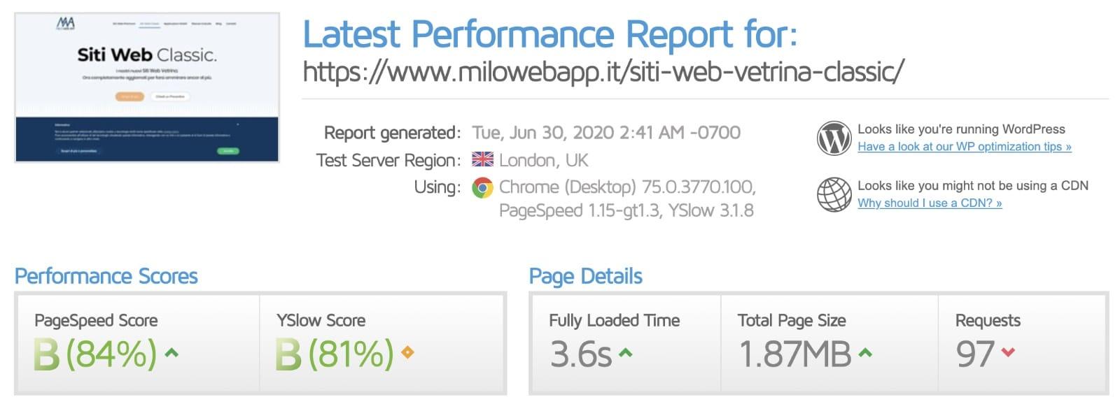 Velocità del sito web - Prima